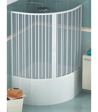 Box vasca estensibile in PVC - semicircolare - 2 ante con apertura centrale - Linea Lux Diana