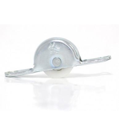 Carrello in acciaio con ruota scanalata in delrin Ø 24 mm con gola Omge