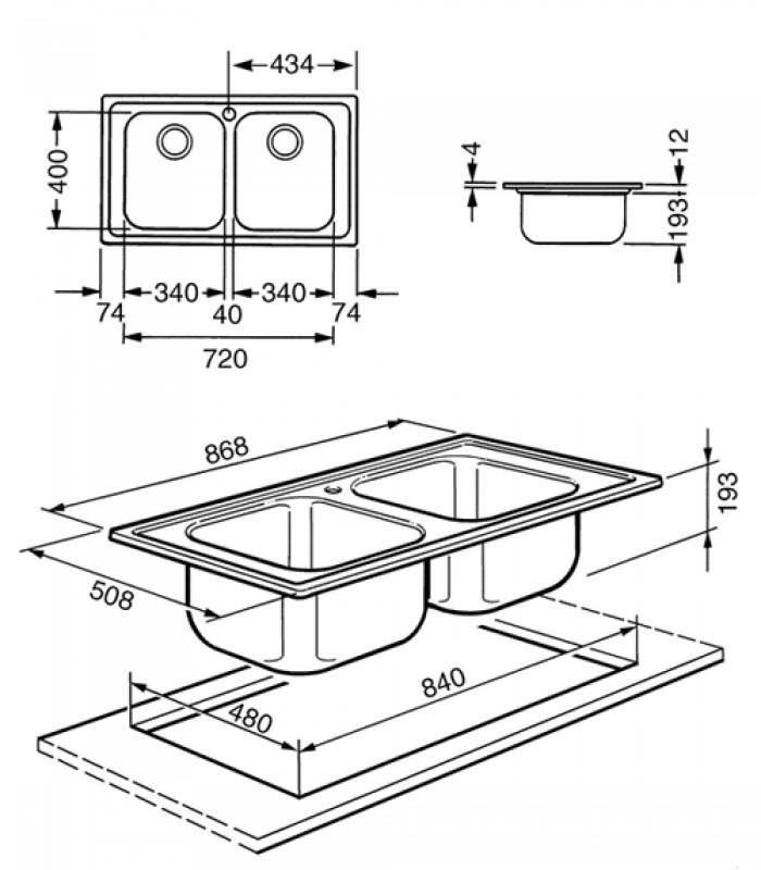 Lavello rettangolare da cucina in acciaio inox Serie Rigae Smeg ...