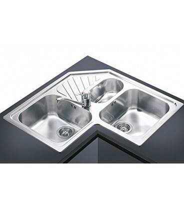 Smeg SP3A angular Kitchen sink with 3 bowls stainless steel ...