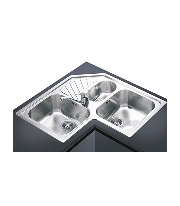 Lavello angolare a 3 vasche da cucina in acciaio inox smeg for Lavello cucina angolare