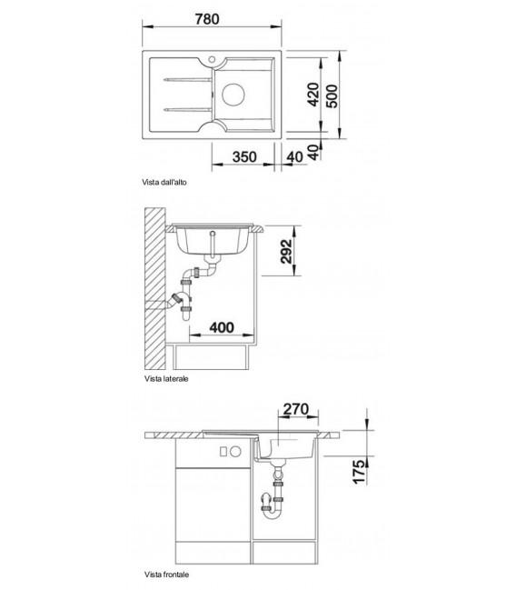 ... cucina > Lavello rettangolare per cucina ceramica BLANCO IDESSA 45 S