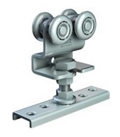 Carrello regolabile in acciaio con perno M10 per anta scorrevole spessore minimo 25 mm e ruote Ø 24 mm Omge