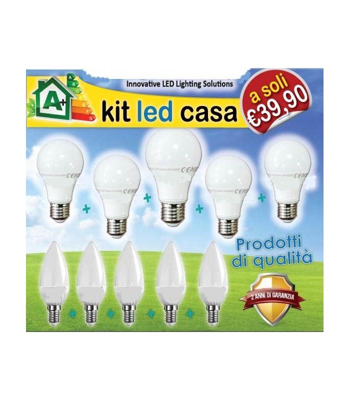 Kit led casa 10 lampadine opalina 4200k serie smooth led for Lampadine led casa