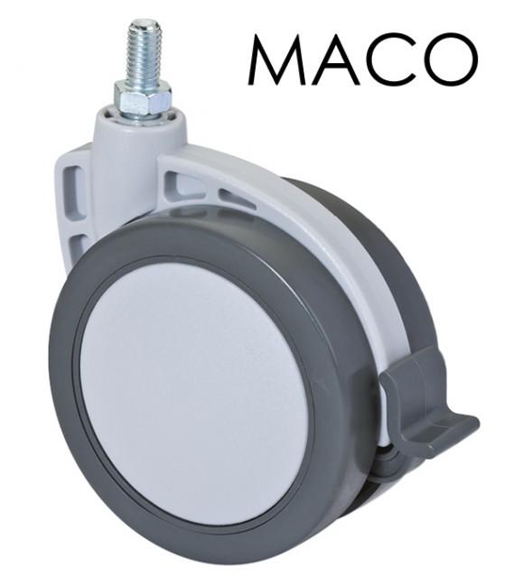 Piede Faggio Naturale 250 mm con ruota Maco Ø 80 con freno