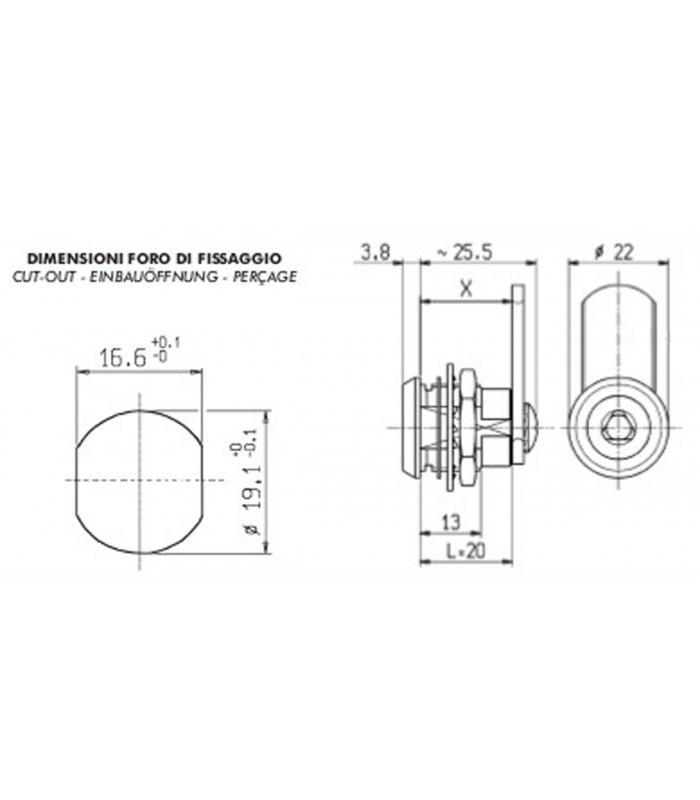 Serratura Giussani serrature per quadri elettrici inserto triangolare - Mancini & Mancini Shop