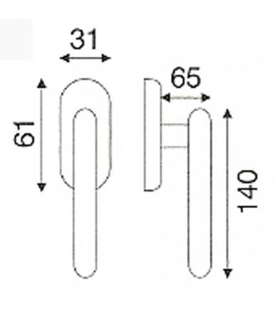Maniglia martellina DK con rosetta ovale acciaio inox OLARIX per infissi