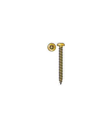 Vite Testa Cilindrica in acciaio Tecfi con impronta a Croce tipo Z per Truciolare, Zincata gialla