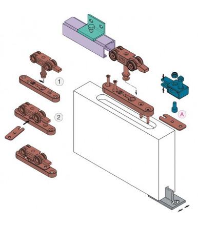 Kit sistema scorrevole per porte a filo del binario portata 40 Kg