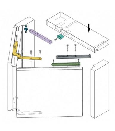Kit sistema per porte pieghevoli a battente con binario portata 50 Kg