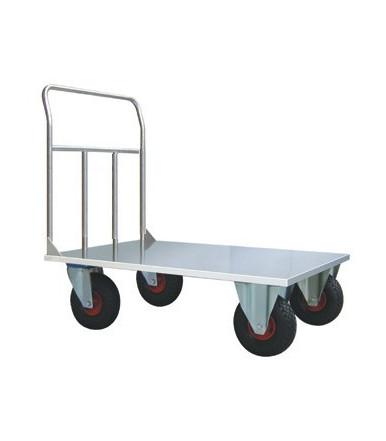 Carrello pianale acciaio alimentare Inox AISI 304 2 ruote fisse e 2 girevoli Ø mm 260 Art.044A INOX