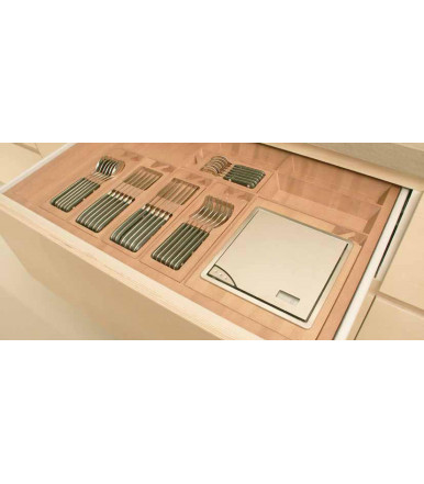 B.Arredo Beech-dug and evaporate Cutlery-tray in solid wood