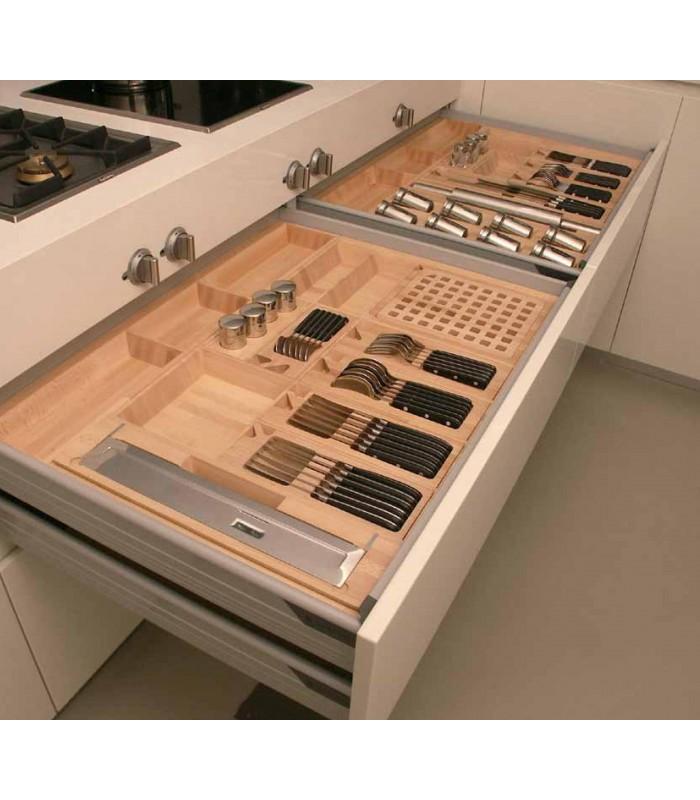 portaposate legno massello scolpito con accessori per cucina