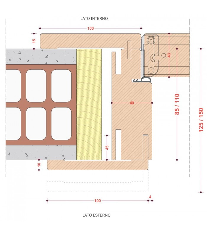 Porta Pail ALISEA MS interna in decorato con telaio EVO in legno listellare -...