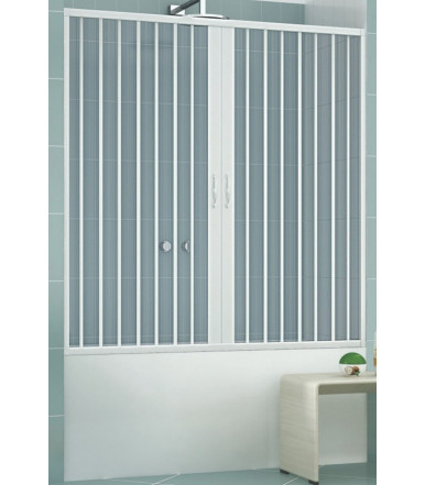 Extensible bath tube box PVC - 2 shutters with central opening - Lux Line Astra