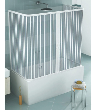 Extensible bath tube box PVC - 3 sides 2 shutters with central opening - Lux Line Venusia