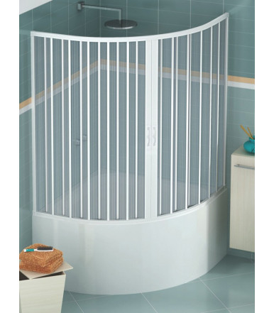 Extensible bath tube box PVC - semicircular 2 shutters with central opening - Lux Line Diana