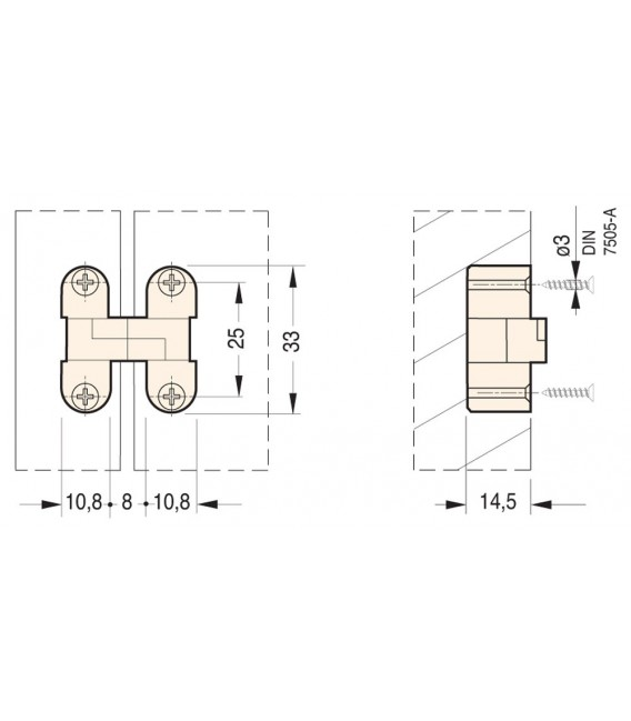 Cerniere ovali invisibili per mobili Ceam Art.2025 foro 33x10,8 mm