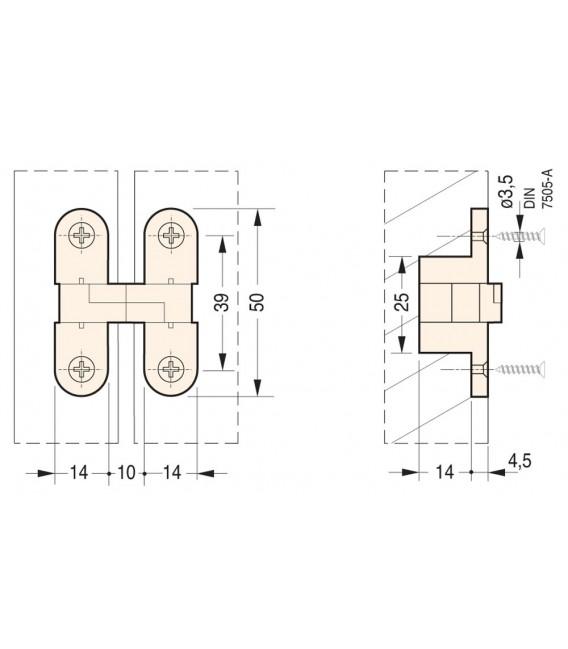 Cerniere da incasso ovali invisibili per mobili Ceam Art.828 foro 50x14 mm