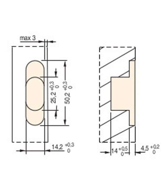 Ceam invisible oval recessed hinges for furniture hole 50x14 mm Art.828