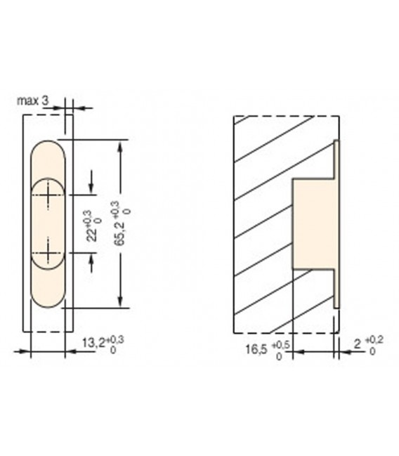 Ceam invisible oval recessed hinges for furniture hole 64,8x13 mm Art.502