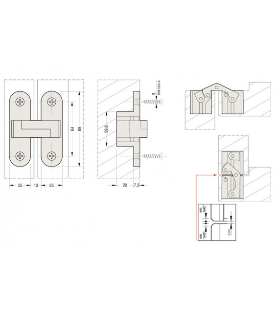 Ceam fixed invisible oval recessed hinges for doors hole 89x25 mm Art.2010
