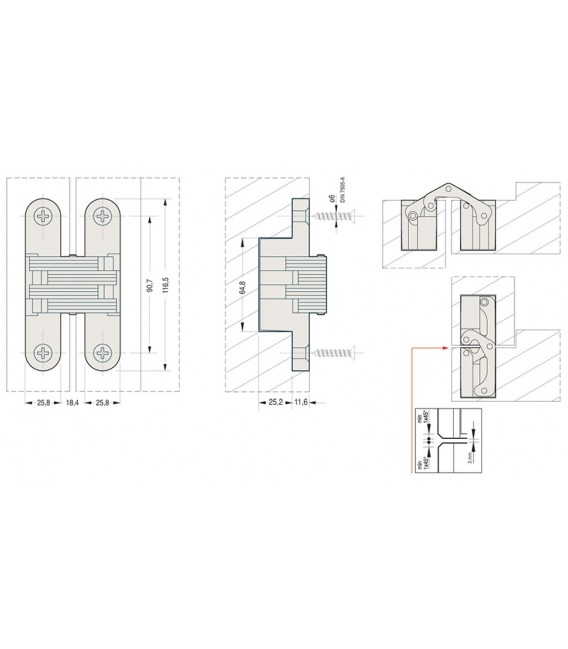 Ceam fixed invisible oval recessed hinges for doors hole 116,5x25,8 mm Art.831