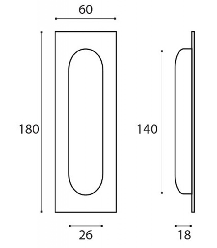 Maniglia rettangolare da incasso per porte scorrevoli JNF inox art ...