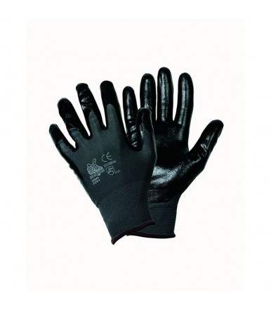 Glove continuous wire coated nylon black nitrile