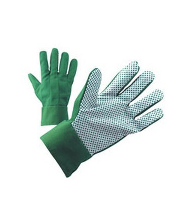 Green cotton gardening gloves with PVC dotted palm
