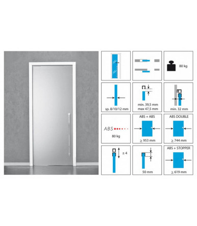 Koblenz Sliding Kit 1760/80 ABS for glass doors 80 and 120 kg