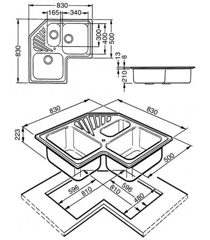Lavello angolare a 3 vasche da cucina in acciaio inox Smeg SP3A