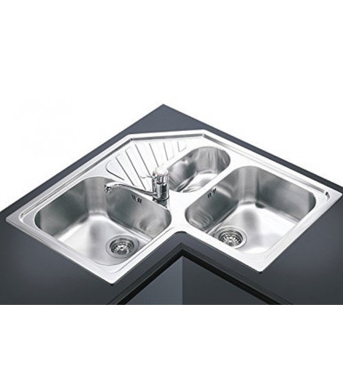 Smeg SP3A angular Kitchen sink with 3 bowls stainless steel