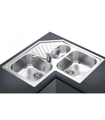 Lavello angolare a 3 vasche da cucina in acciaio inox Smeg SP3A ...