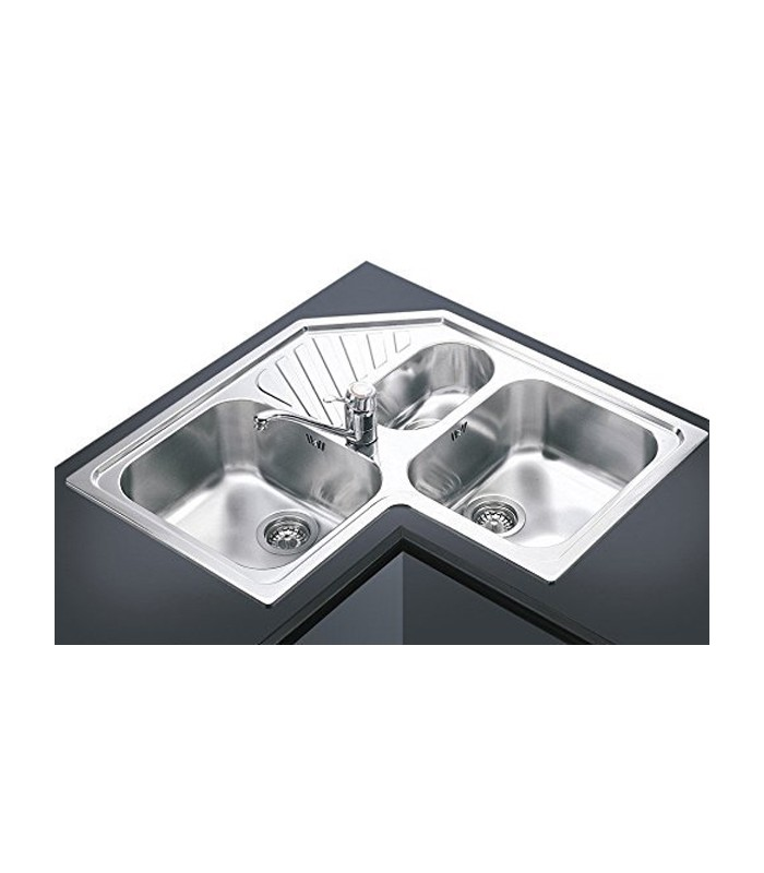 Lavello angolare a 3 vasche da cucina in acciaio inox smeg sp3a mancini mancini shop - Lavello cucina angolare ...