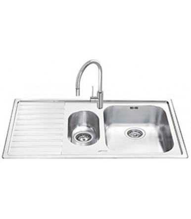 Lavello rettangolare da cucina in acciaio inox Serie Estetica Classica Smeg LL102S