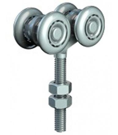 Carrello regolabile in acciaio con perno M8 per anta scorrevole e ruote Ø 24 mm Omge