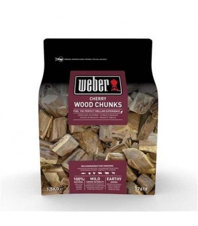 Weber large wood chunks for smoker - Cherry