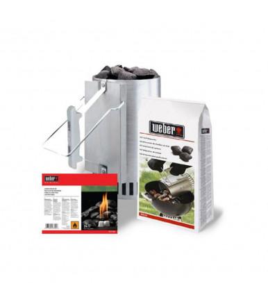Ciminiera di accensione Weber Kit + 2 kg bricchetti + 6 cubetti accendifuoco art.1013