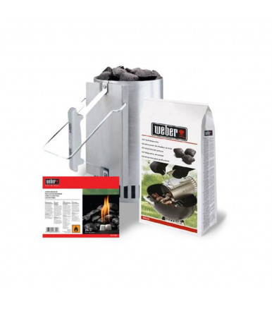 Ignition chimney kit 1013 Weber + 2 kg briquettes + 6 fire light cubes