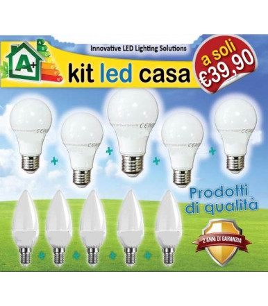 Kit LED Casa 10 lampadine opalina 4200K Serie Smooth Led SkyLighting