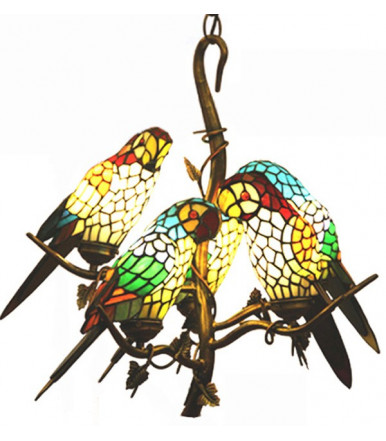 Chandelier with 5 lampshaped like parrots in glass