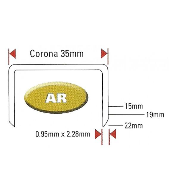 Punti graffe metallici a nastro per chiusura cartoni serie AR corona 35 mm