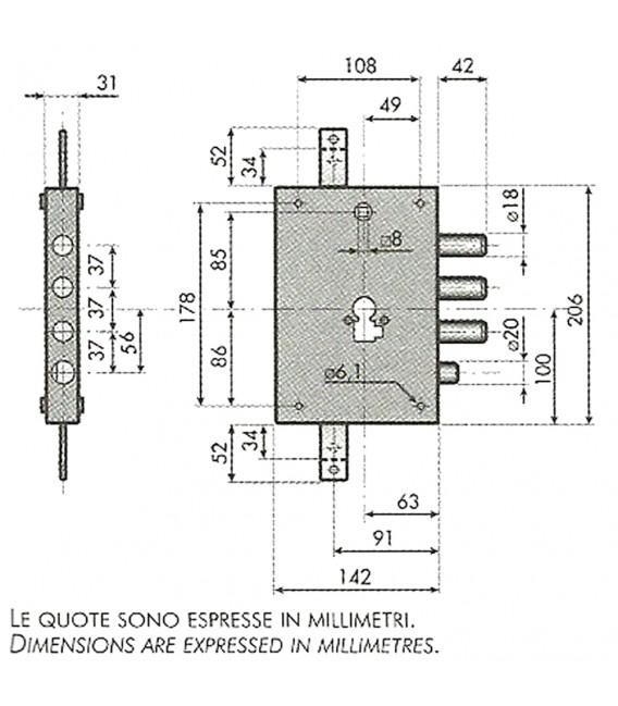 Serratura ad applicare per porte blindate entrata 60 mm for Porte ads 60