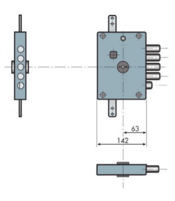 Serratura ad applicare triplice a doppia mappa per porte blindate entrata 60 mm Dierre