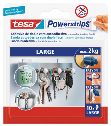 Strisce biadesive removibili bianche Powerstrips LARGE Tesa