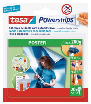 Strisce biadesive removibili bianche Powerstrips POSTER Tesa
