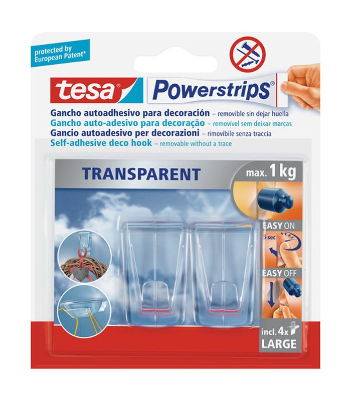 Tesa Powerstrips Large Transparent Deco Haken Mancini Mancini Shop