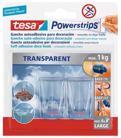 Tesa Powerstrips LARGE Transparent DECO Haken