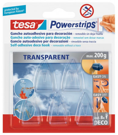 Tesa Powerstrips Transparent DECO Hooks